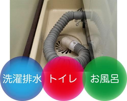 洗濯排水、トイレ、お風呂